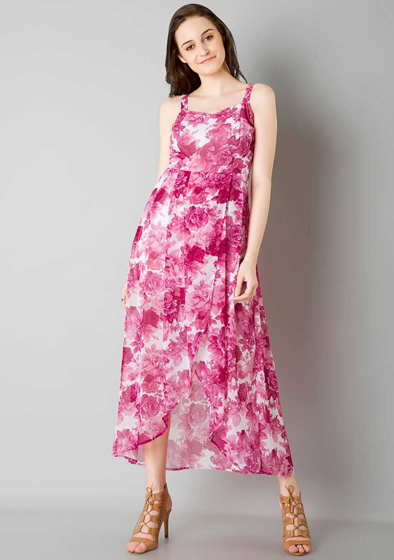 High Low Strappy Maxi Dress Pink Floral Couch Florals