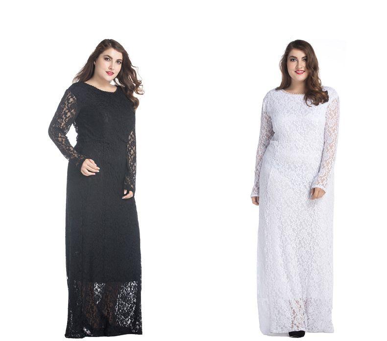 Us 1778 Elegant Ladies Black White Lace Maxi Dress With Sleeves