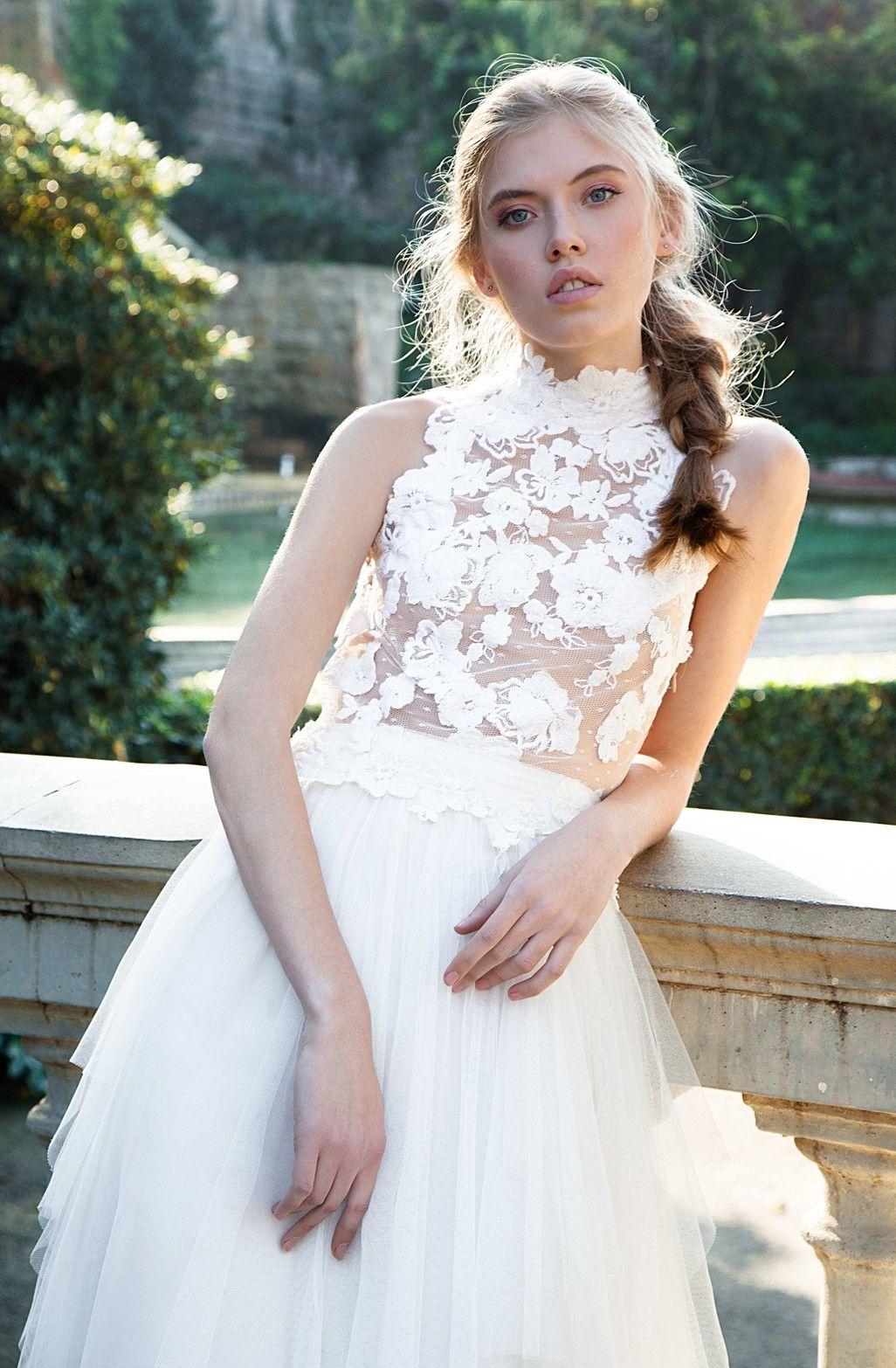 modelo biuse vestidos de novia 2 piezas blonda encaje sin espalda boho chic  escote halter slow wedding