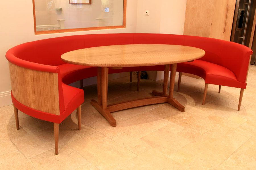 Contemporary Elliptical Dining Table Set And Bench Seating