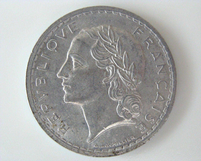 1949 Rf 5 Francs France Repvbliqve Francaise Aluminum Coin