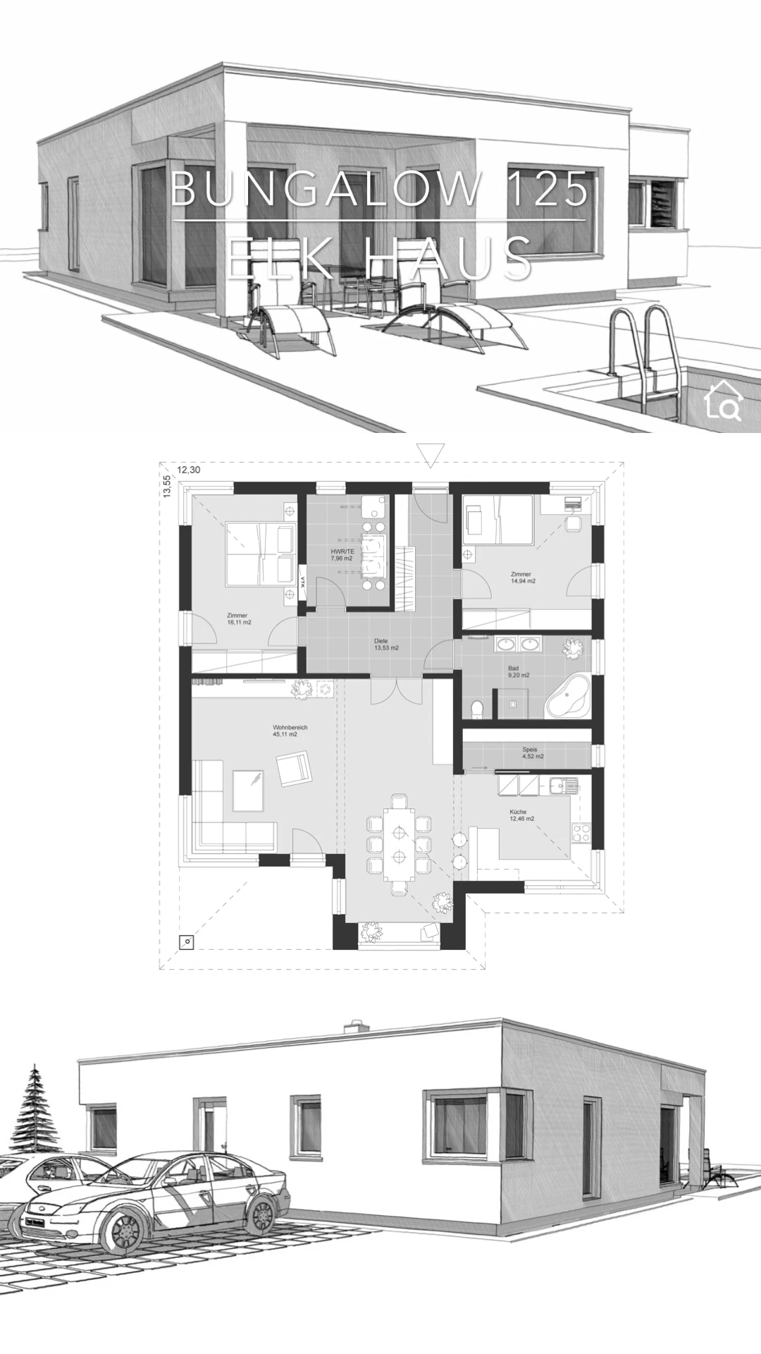 Bungalow House Floor Plans e Level Modern Architecture Design & Dream Home Ideas with Flat Roof