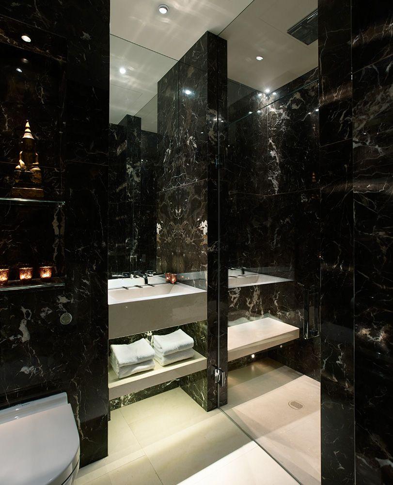 Salle De Bain Couloir Wc ~ Salle De Bain En Marbre Noir Inspirations Deco Pinterest
