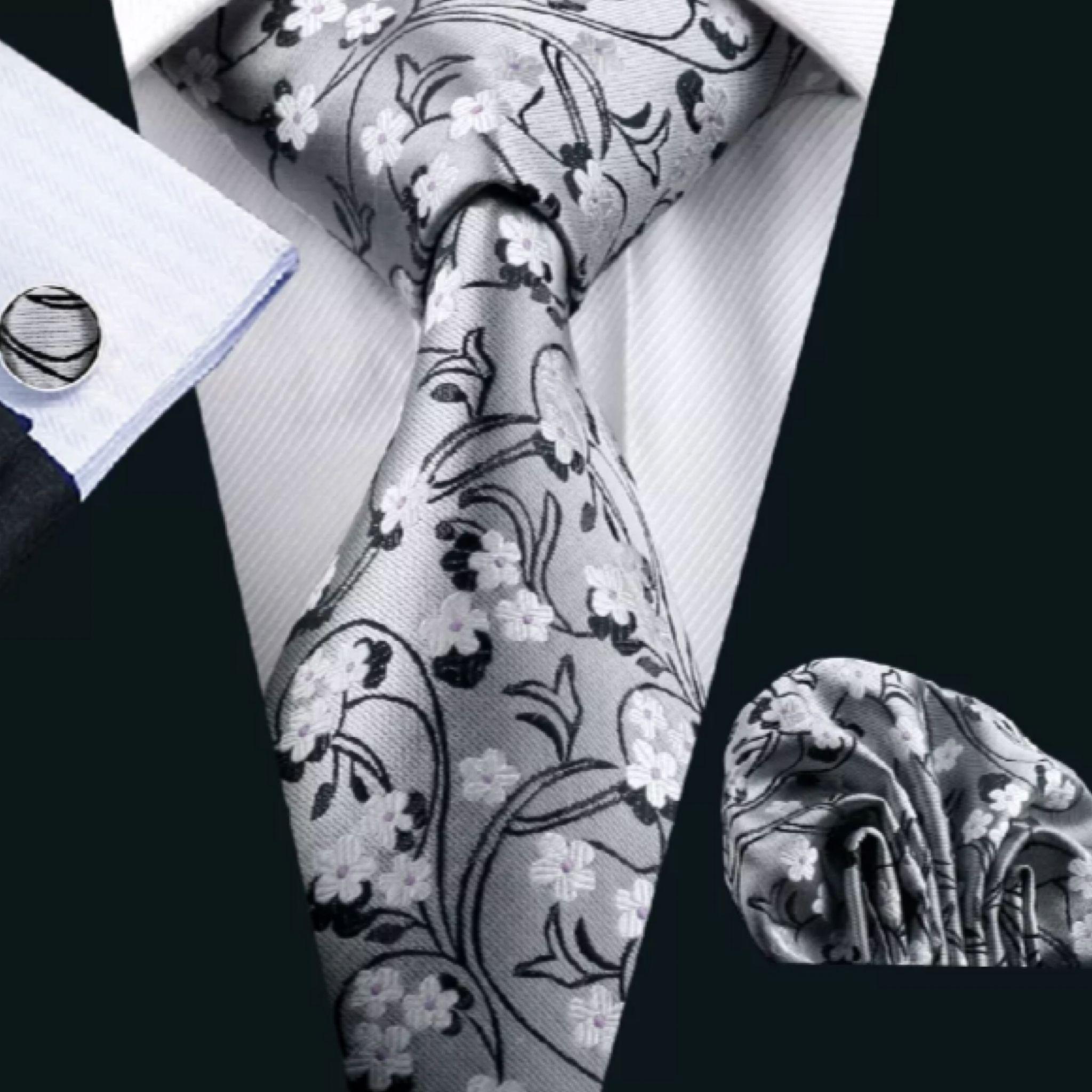 Mens Silk Coordinated Tie Set Silver Floral In 2018 Ties How To A Trinity Knot Diagram Van Wijk Necktie Uyleesboutique