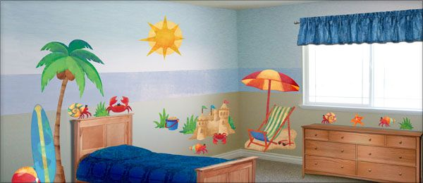 Day At The Beach Fabric Wall Decals With Images Beach Themed