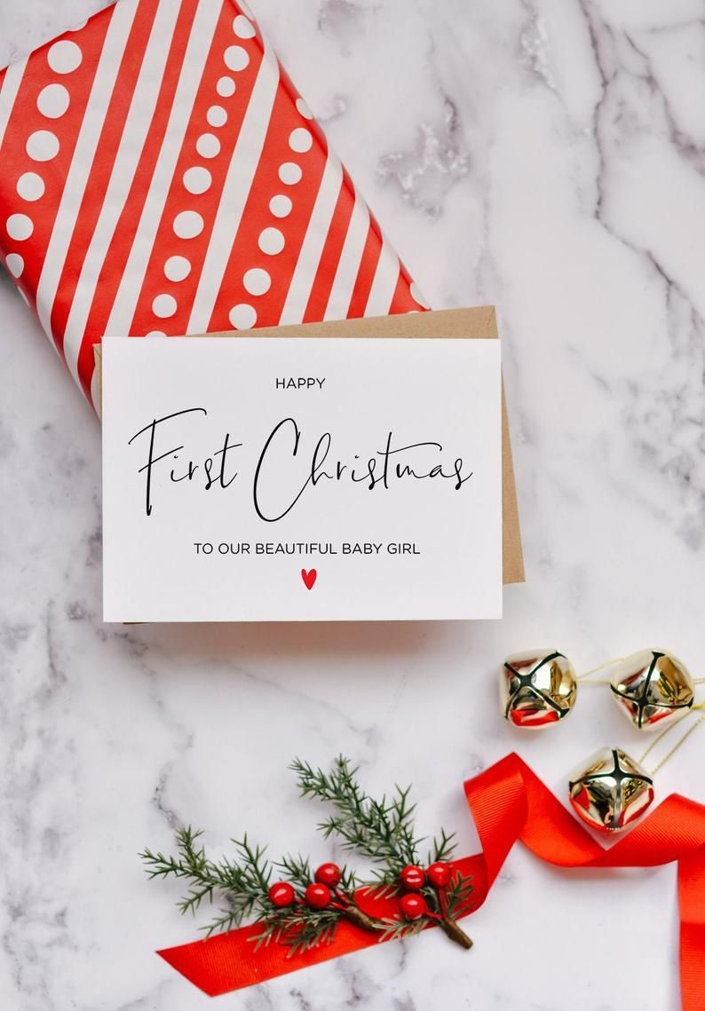 Baby First Christmas Card Instant Download Holiday Card Digital