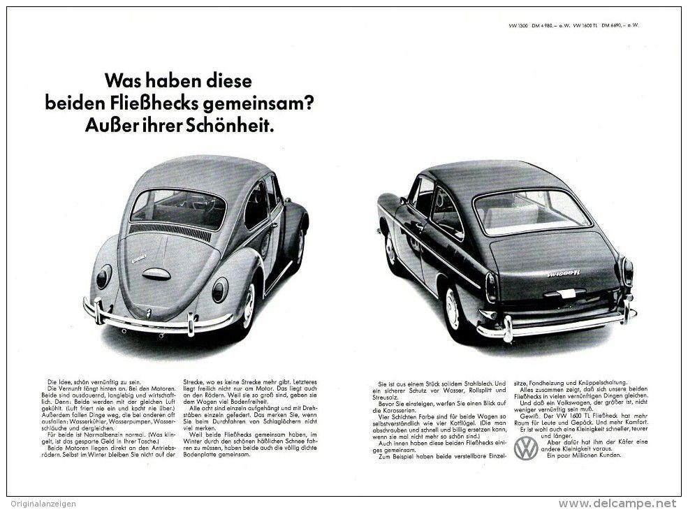 Original-Werbung/ Anzeige 1966 - DOPPEL-SEITE - VW KÄFER / VW 1300 ...