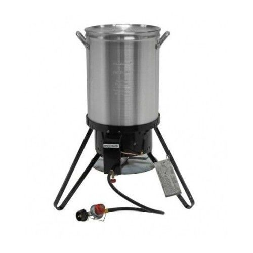Gas turkey outdoor stove fryer pot deep 30 qt cooker camp for Fish fryer burner