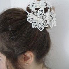 Collection mariage pics à cheveux en dentelles blanc cassé