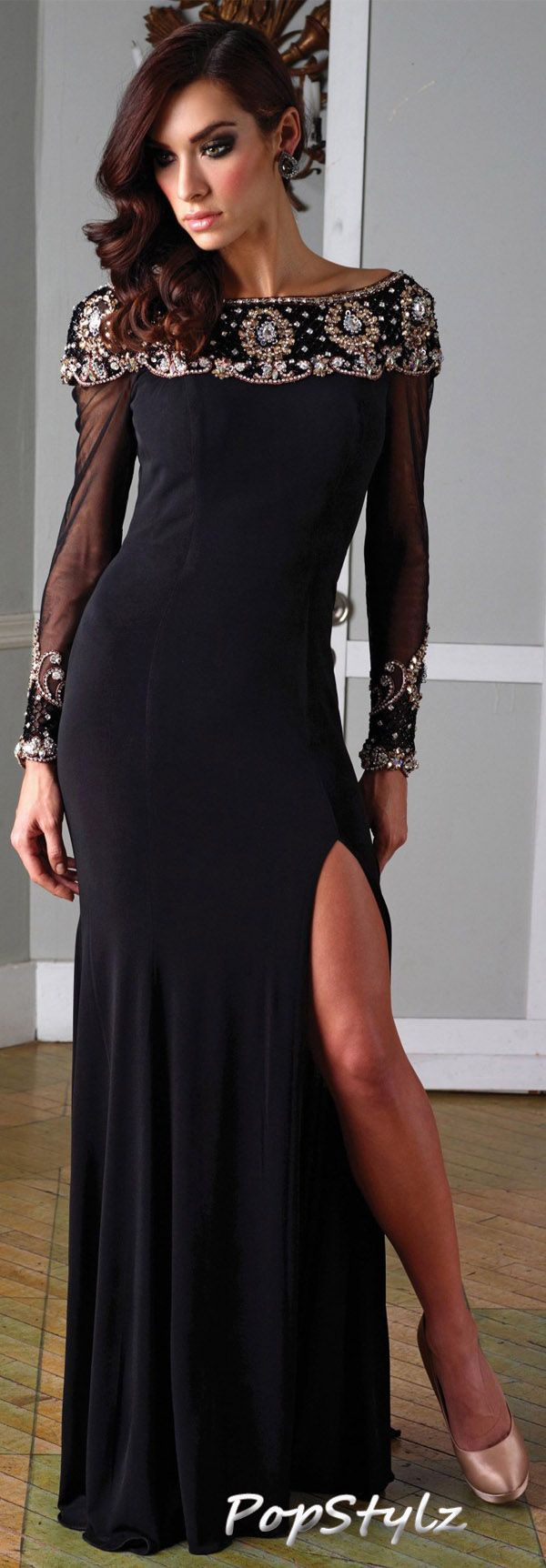 Terani couture slinky black dress beautiful dress not caring for