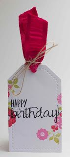 Happy Birthday Tag featuring PTI stamps and May Arts ribbon
