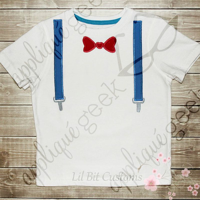 Bow Tie and Suspenders Applique Embroidery Design