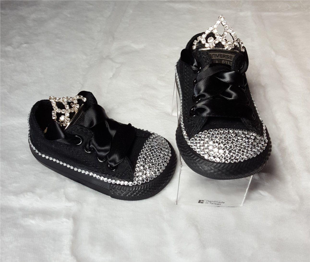 9dddde2c073da6 Black Tiara Bling Converse - Tiara tounge detail - Satin laces - Rhinestone  toe