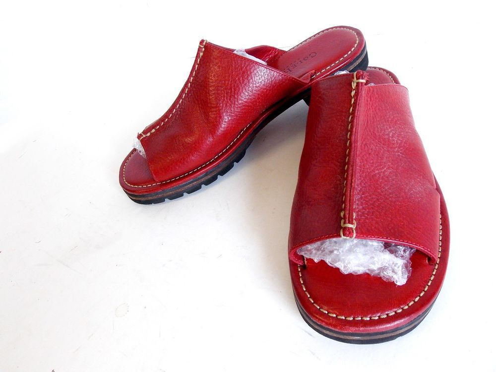 Cole Haan Womens 7 B Red Patent Leather Slip On Slides Shoes