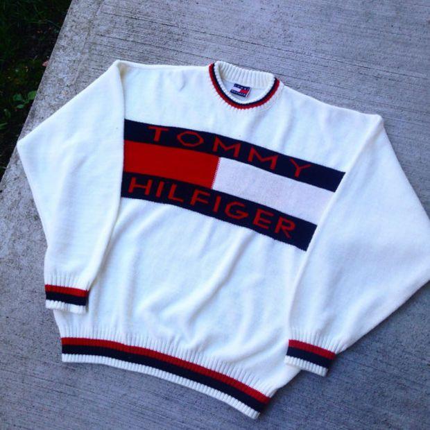 Vintage 90's Tommy Hilfiger Knit Sweater Big Logo small