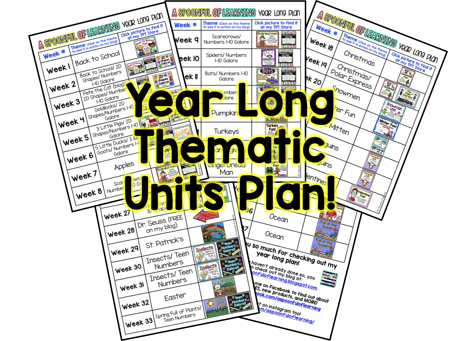 Year Long Thematic Units Plan and BUNDLES!! - A Spoonful of Learning