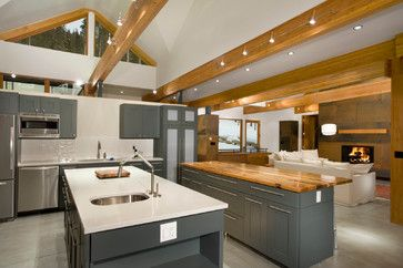 Rounds Contemporary Kitchen Denver Rockridge Building Company Wood Beam Ceiling Faux Ceiling Beams Ceiling Beams