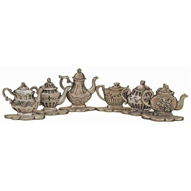 Pewter Teapot Place Card Holders Set of 6