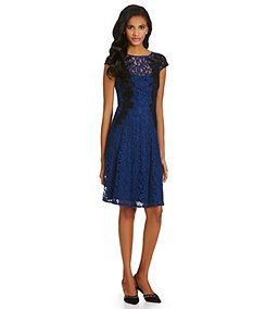 Adrianna Papell Lace Illusion Fit-and-Flare Dress Item Dillards #04339265 $158 only in atlantic blue