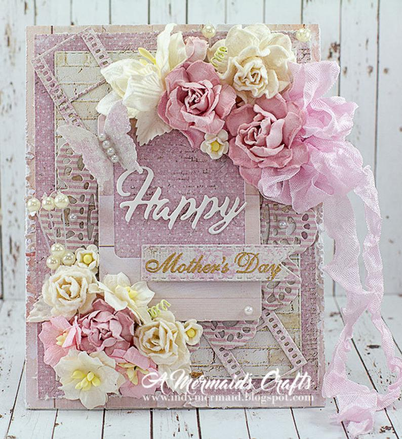 shabby chic happy mother's day greeting card  etsy