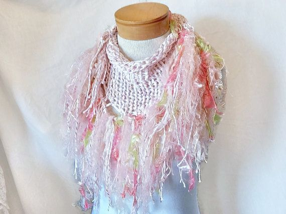 Pink white  knit scarf Cotton triangle shawl by 910woolgathering