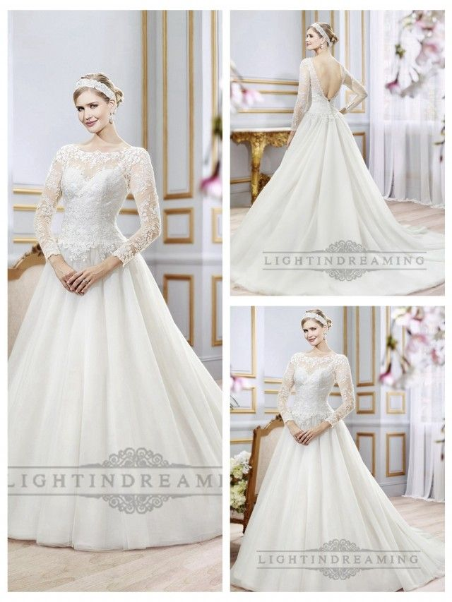 5548a23ef47 Illusion Lace Long Sleeves Bateau Neckline Ball Gown Wedding Dress with Deep  V-back