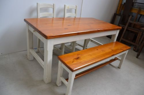 Tavolo con coppia sedie e panca shabby rif 1788 i in for Ebay arredamento antiquariato