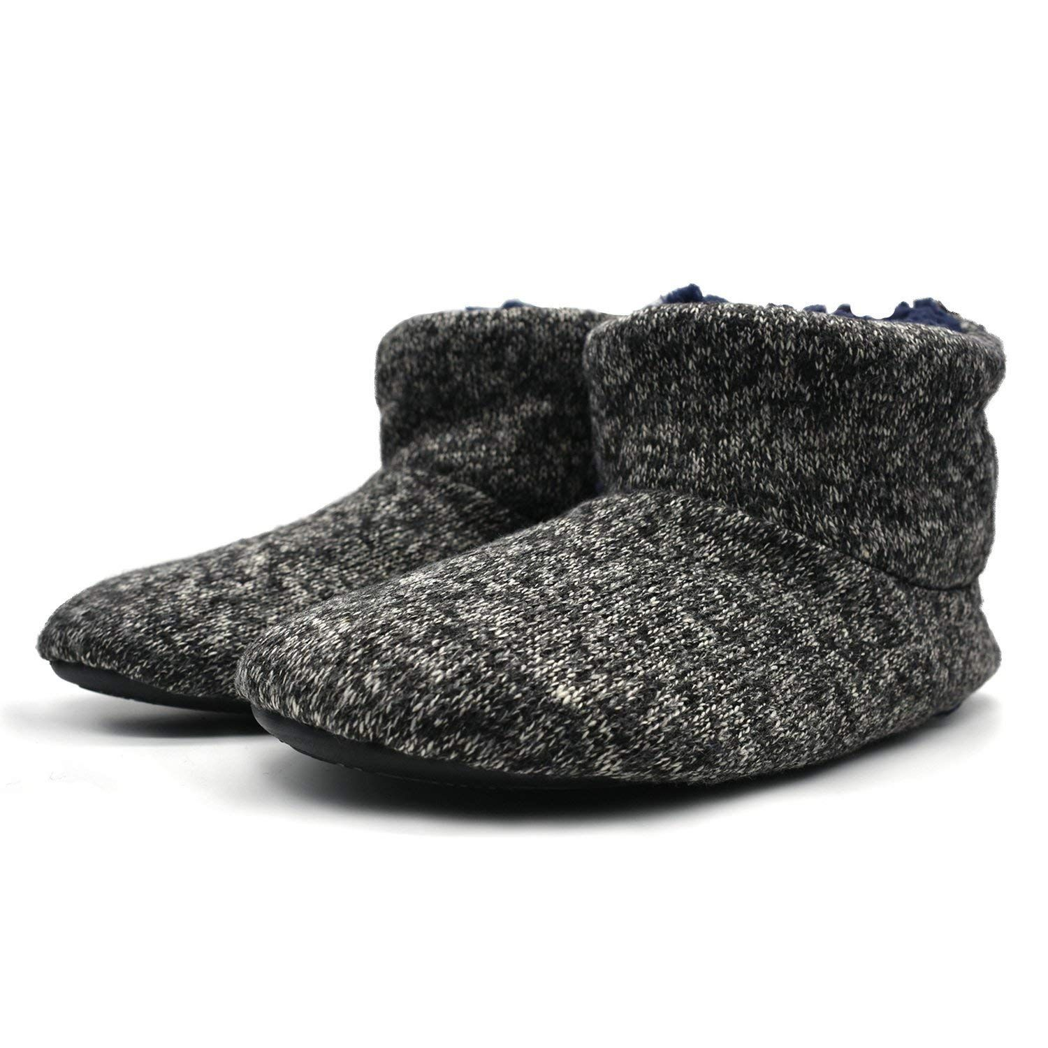 8fbf94c8124b ONCAI Knit Wool Warm Men Indoor Pull On Cosy Memory Foam Slipper  Boots Booties TPR