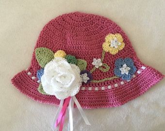 Purple yellow and white Crochet Hat Easter Bonnet by AZenCreation