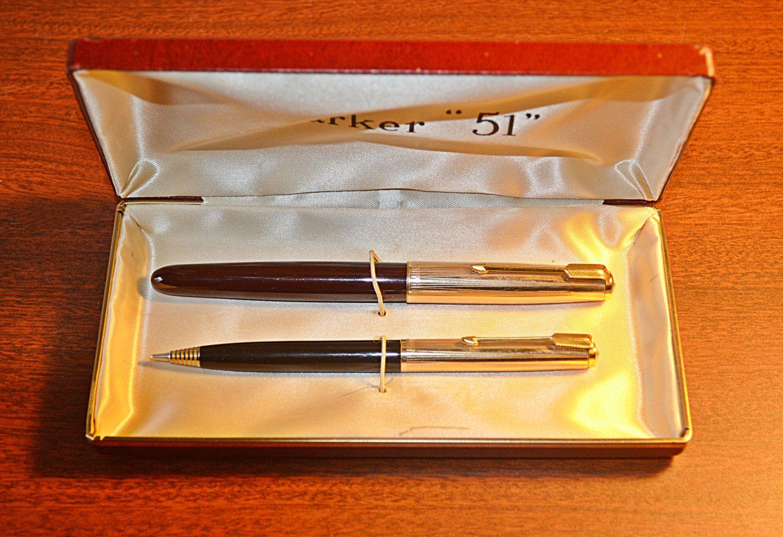 Liquid Lead Pencil 1950s Parker 51 12k Gold Filled Fountain Pen And Parker Liquid