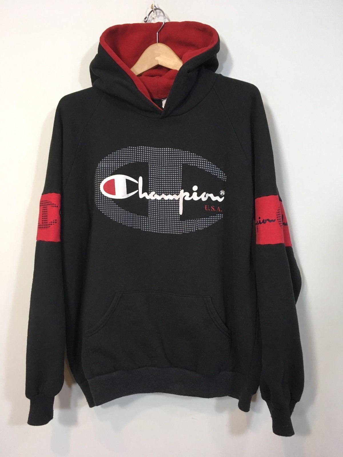 uk availability 50d5c 2b768 VTG Champion Hoodie Sweatshirt Black Red Spell Out Big Logo Mens XL