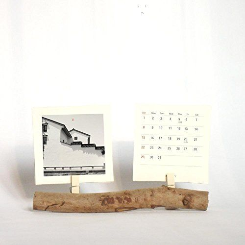 2017 Desk Calendar With Hand Made Branch Wood Stand, Jiangnan Photography,  Chinese City Architectural