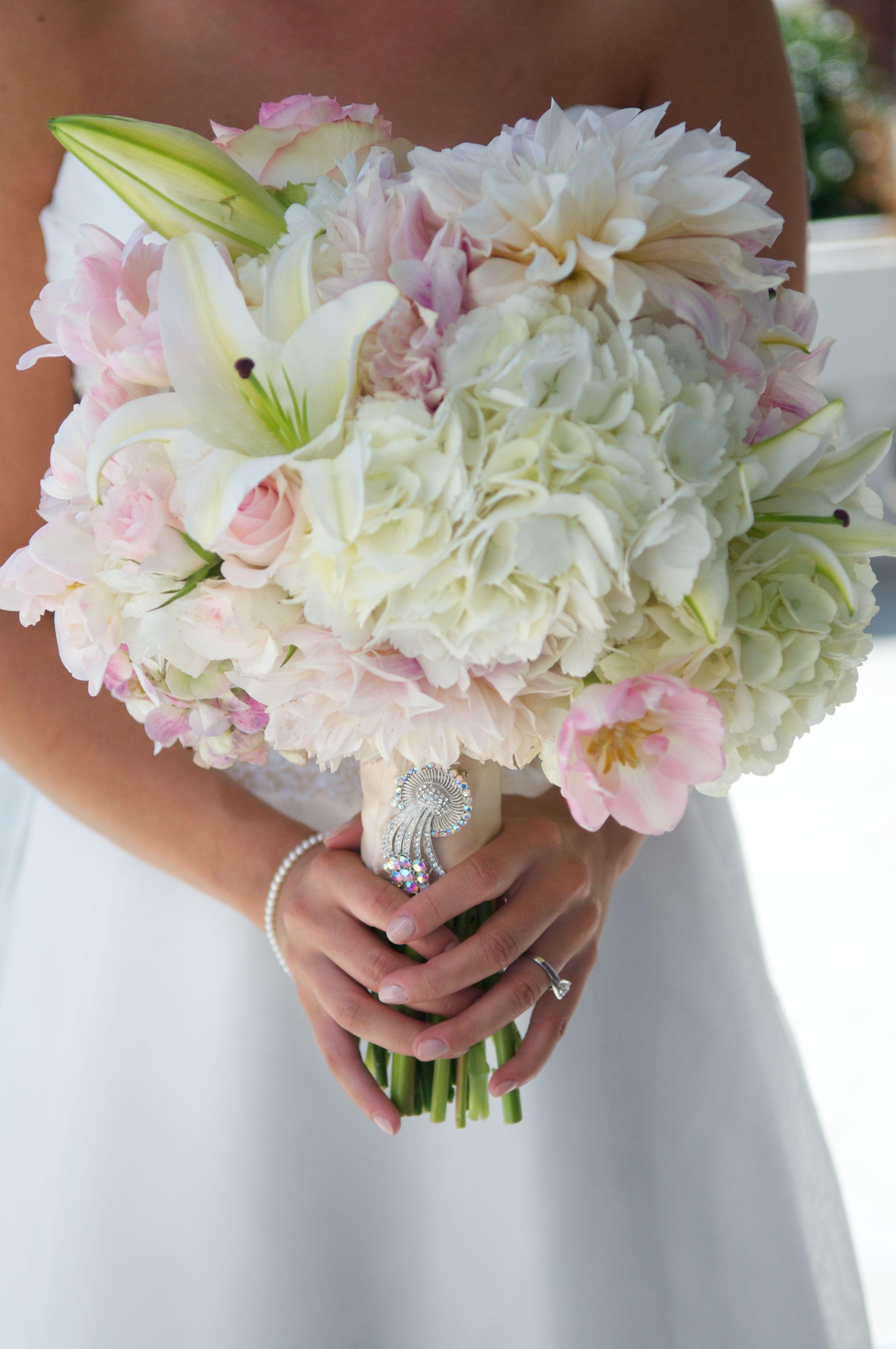 White Hydrangea, White Casablanca Lily, Blush Dahlia ...