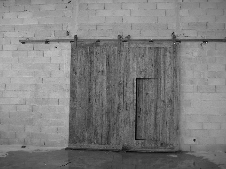 PORTAIL A LAMES EN VIEUX CHENE Montage Sur Rail Coulissant Porte - Porte garage coulissante bois