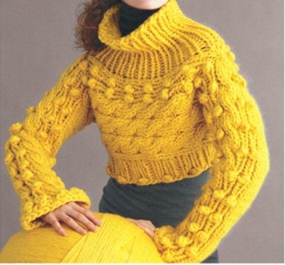 Cropped Bobble Pullover Sweater   Stricken   Pinterest   Strick ...