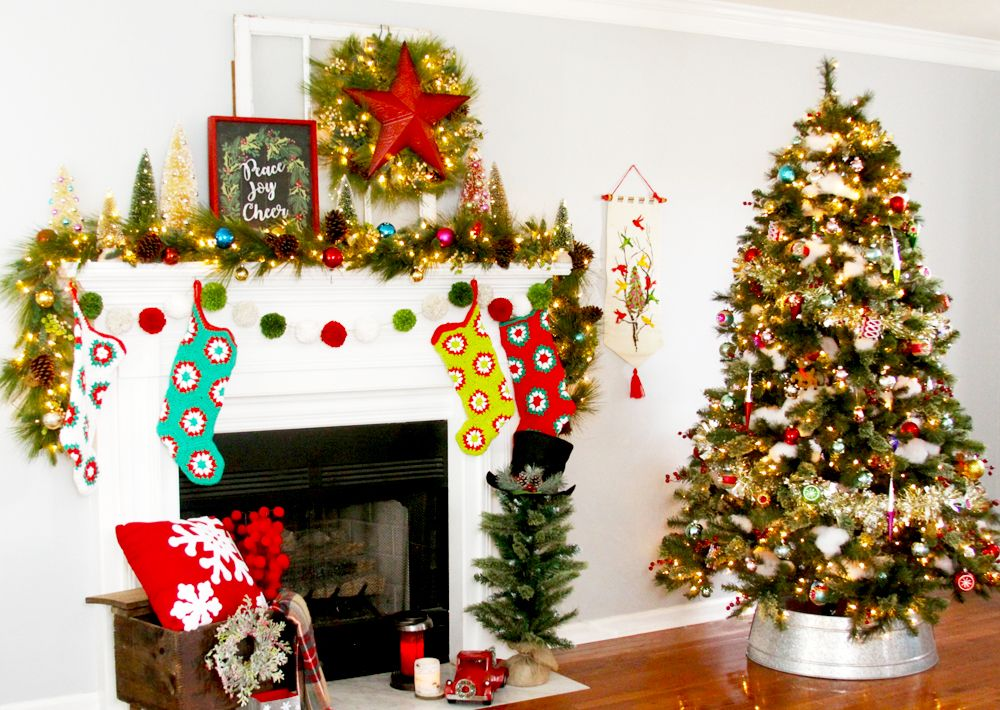 Traditional Style Christmas Tree and Mantel - Mantels, Christmas - christmas decorations for mantels