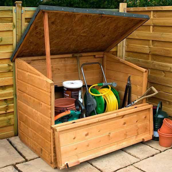 Pent Wooden Garden Storage Chest