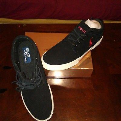 men's polo ralph lauren black/red casual shoes size 105