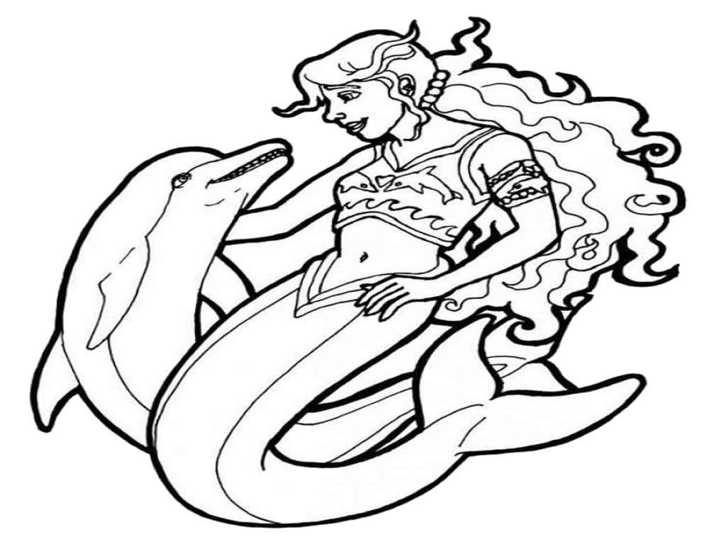 Mermaids Play With Dolphins Mermaid Coloring Pages Mermaid