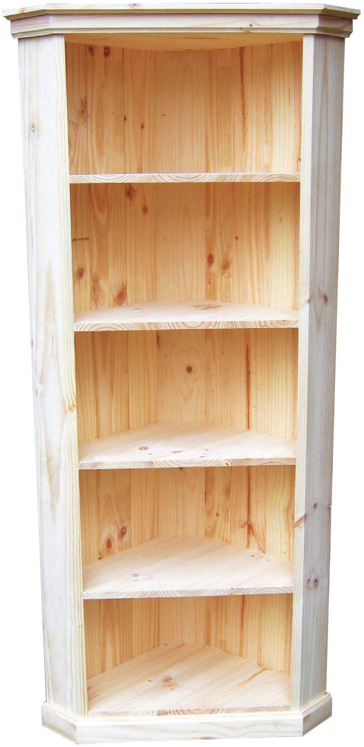 Corner Display Bookcase Raw