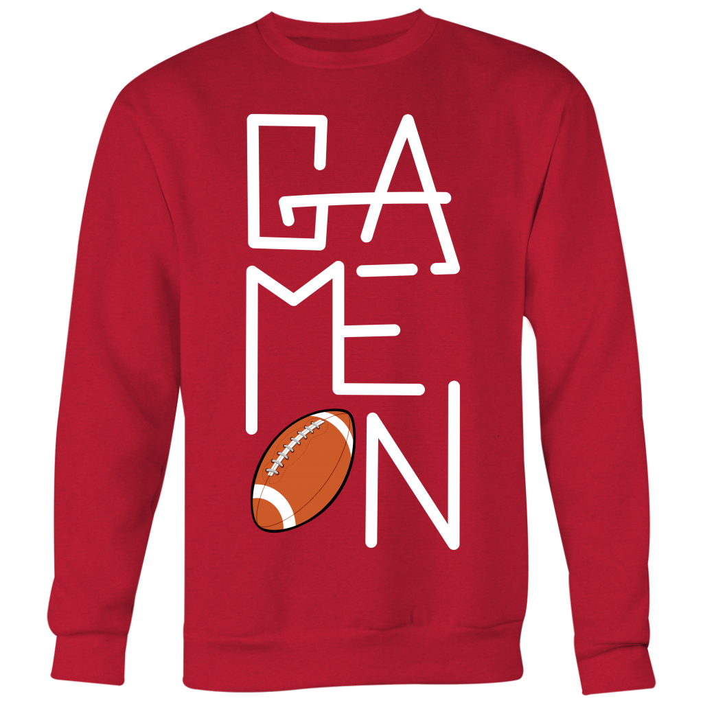FOOTBALL GAME-ON SWEATSHIRT – Crewneck Sweatshirt Big Print / Red / XL