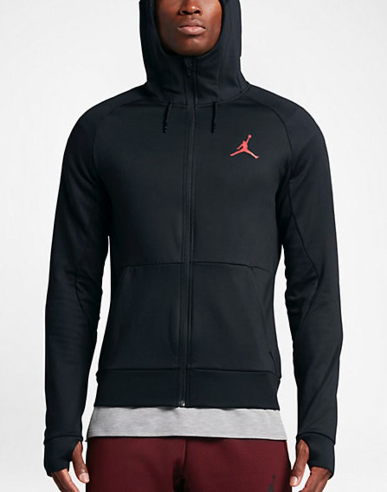 24222eaa6ee3 NWT Jordan 360 Fleece Hoodie Mens 808690-010 Black Infrared Therma Size S  Small  Jordan  Hoodie
