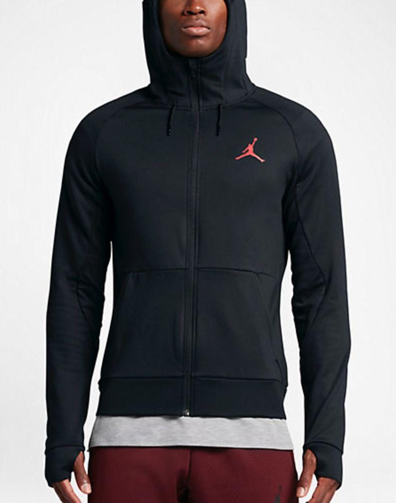040a90bc8e72c8 NWT Jordan 360 Fleece Hoodie Mens 808690-010 Black Infrared Therma Size S  Small  Jordan  Hoodie
