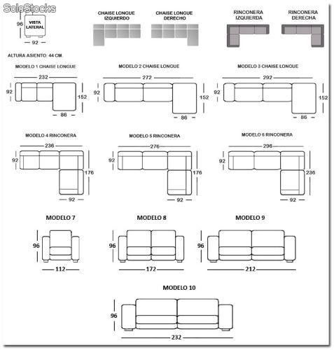 Resultado de imagen de sofa chaise longue medidas for Chaise longue medidas