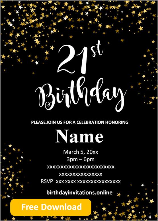 Free Printable 21st Birthday Invitations Templates Party Invitation 21st Birthday Invitations Printable Birthday Invitations Birthday Invitations