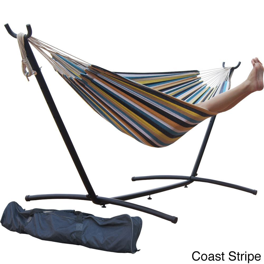 prime garden 9 foot double hammock and steel hammock stand  coast stripe  prime garden 9 foot double hammock and steel hammock stand  meadow      rh   pinterest