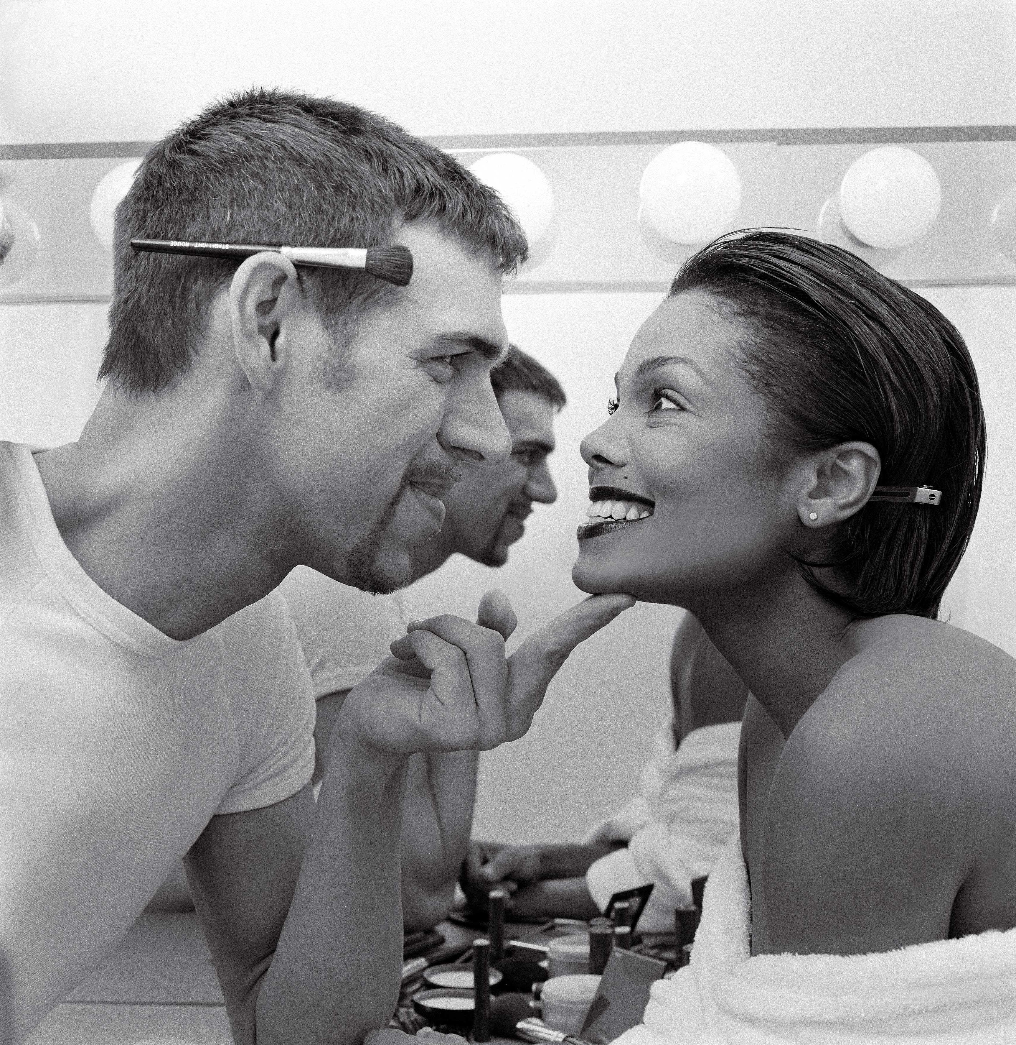 Jackson with makeup artist kevyn aucoin