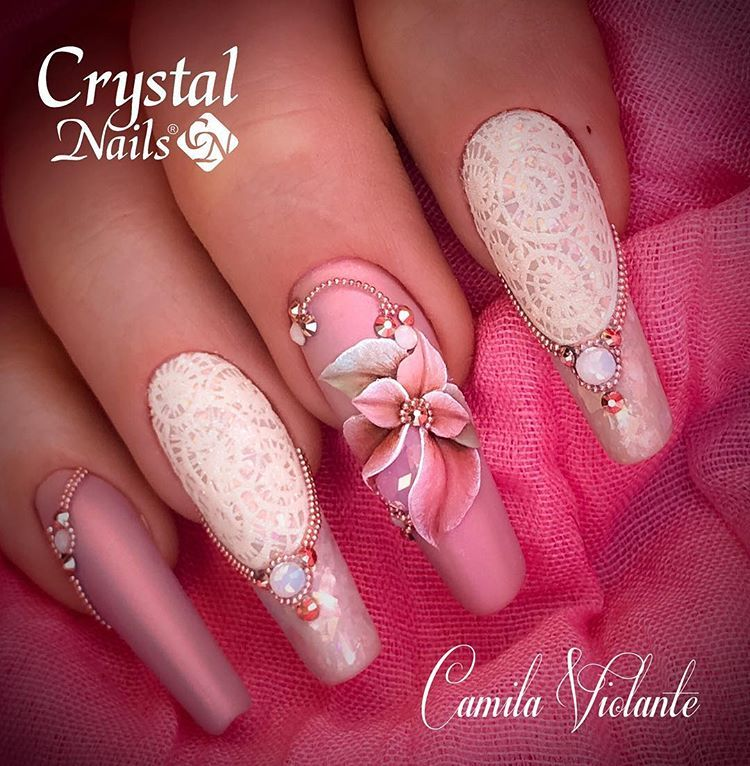 Design Made With Lace Gel Plasticine 3d And 3d Gel Gel Nail Art Designs Luxury Nails Crystal Nails