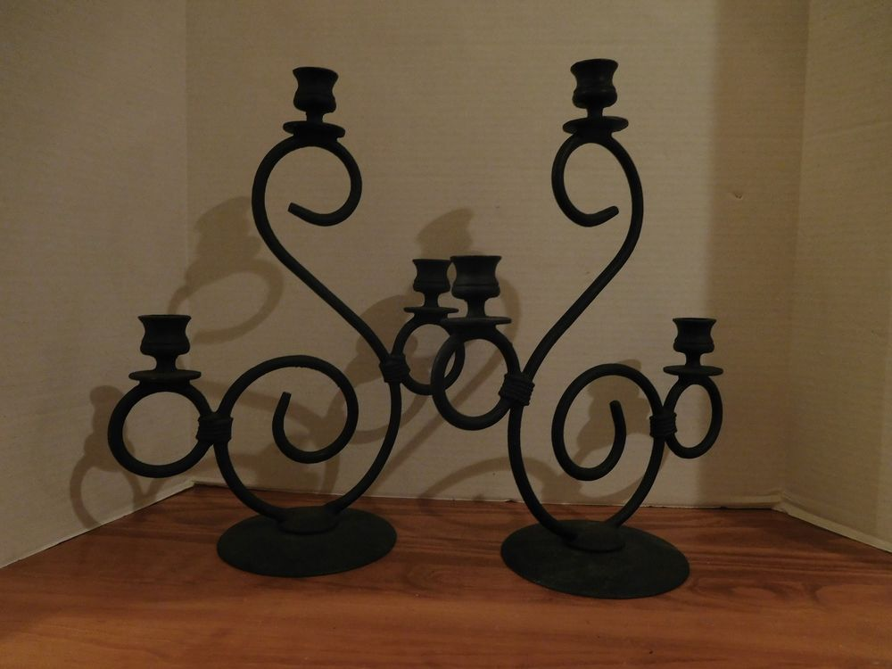 Vintage Black Wrought Iron Tapered Candle Holders Set Of 2 Heavy Solid Unbranded