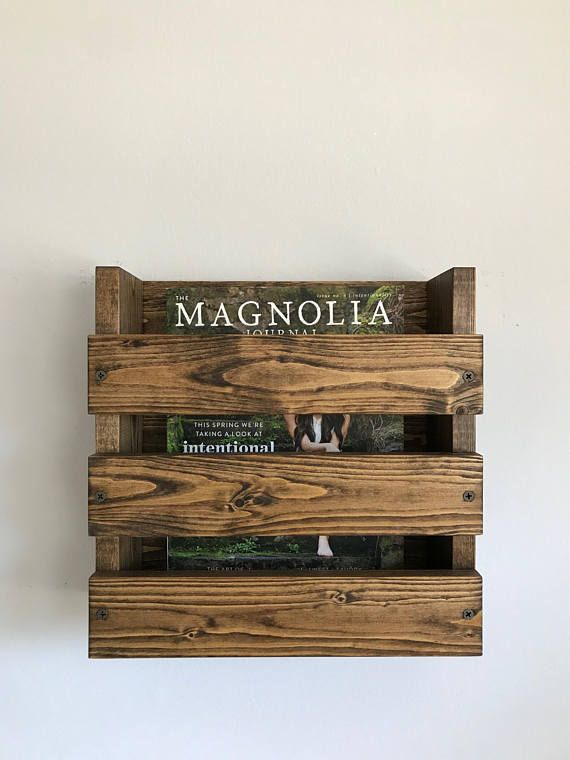 Wood Wall Mounted Menu Holder Bathroom Magazine Hanging Rack Rustic Magazines Menus Restaurant Bar Brewery